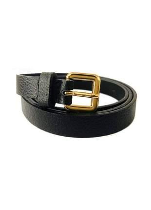 Cinto de couro legítimo preto fino - 1,5cm - cintos exclusivos - feminino