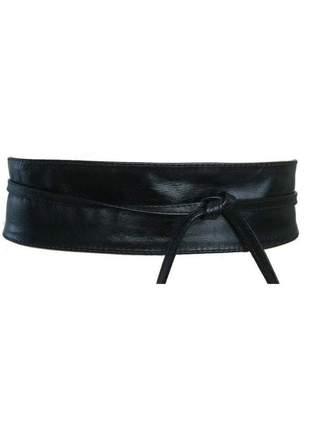 Cinto faixa obi de couro legítimo na cor preto - 7cm - cintos exclusivos - feminino