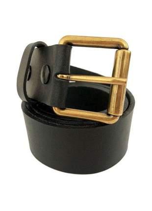 Cinto de couro legítimo preto com fivela simples - 4 cm - cintos exclusivos - feminino