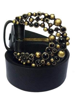 Cinto de couro legítimo preto  - 4 cm - cintos exclusivos - feminino