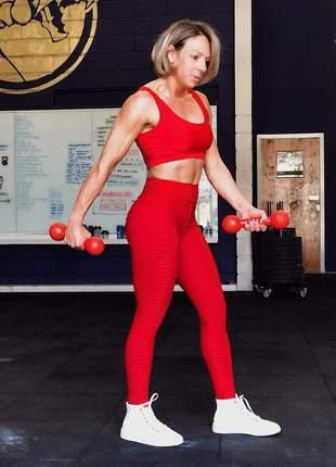 Calça legging vermelha bolha - disfarça celulite - tecido alto relevo