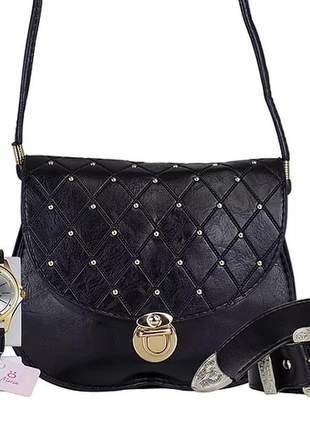 Kit  bolsa + relógio + cinto luxo