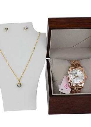 Kit relógio + caixa de madeira + colar + brincos - luxo