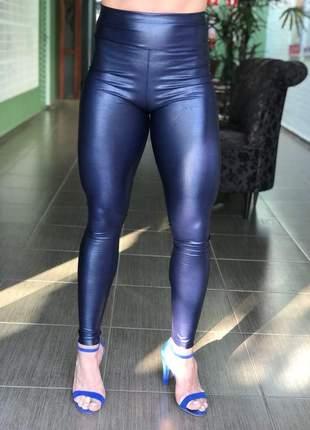 Calça legging de couro fake ou sintético/ecológico (cirrê) azul marinho #blackfriday