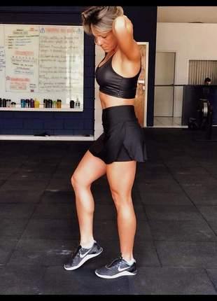 Shorts com saia preta em suplex fitness para academia - moda fitness