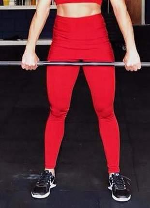 Calça legging com saia de suplex vermelha para academia