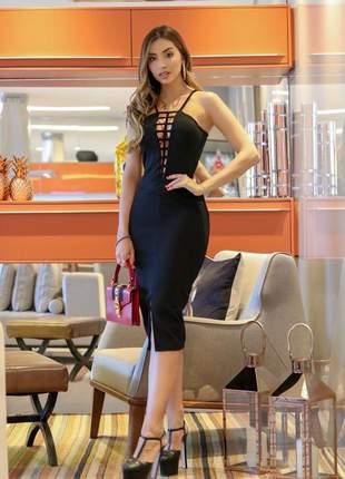 Vestido midi preto  - frete grátis