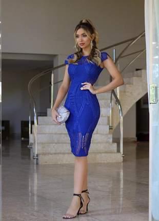 Vestido midi  azul royal - frete grátis