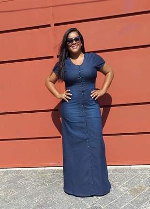 Vestido longo com botões jeans feminino estilo mid eventos casamentos festas