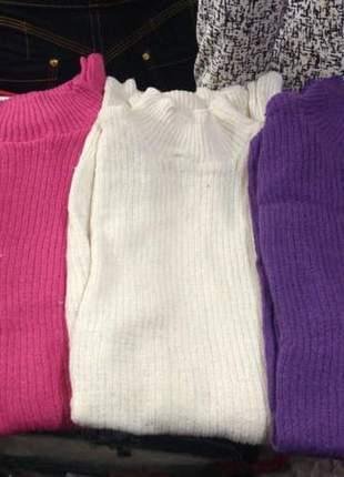 Cacharrel blusa feminina tricot manga longa gola careca