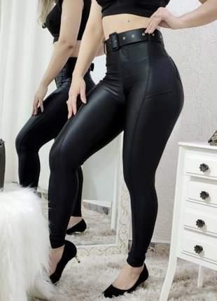 Calça cirrê feminina com cinto de regulagem feminino skin