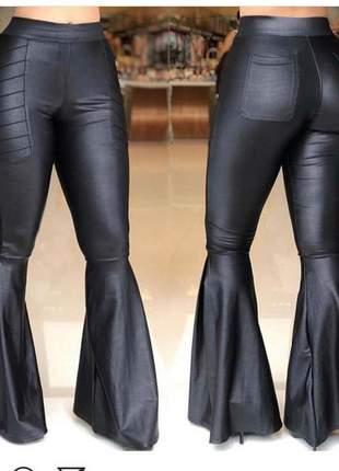 Calça cintura alta flare cintura alta pantalona boca de sino