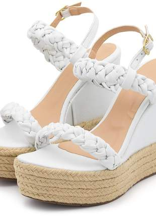 Sandália anabela salto alto em napa branca