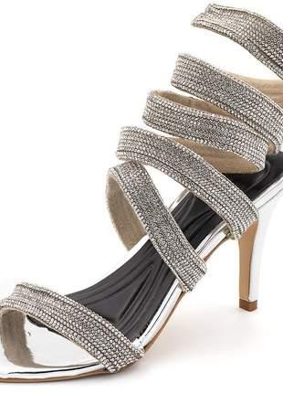 Sandália feminina salto alto gladiadora aramada strass prata