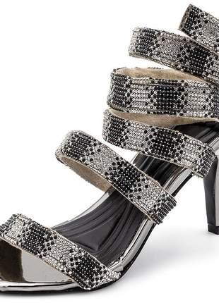 Sandália feminina salto alto gladiadora aramada strass prata e preto