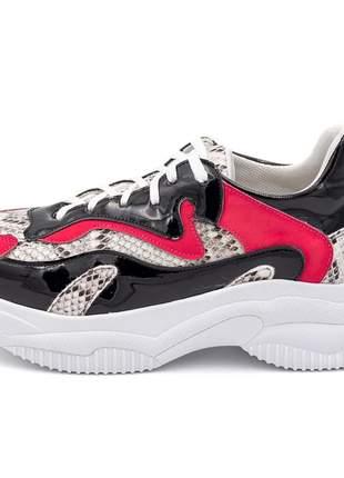 Tênis sneakers chuncky recortes em napa cobra olimpia com pink e verniz preto