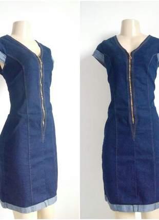 Vestido jeans com lycra comprimento médio e com ziper