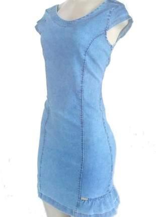 Vestido jeans  com elastano comprimento medio com ziper trazeiro e manga curta