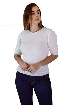 Blusa manga puff branco moda verão