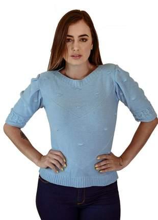 Blusa manga puff azul moda verão