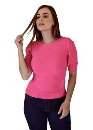 Blusa manga puff pink moda verão
