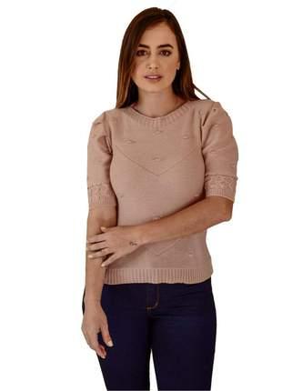 Blusa manga puff rose moda verão