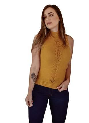 Blusa básica mostarda moda feminina verão