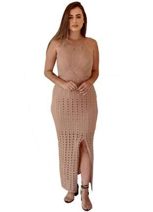 Vestido longo rose moda tricot