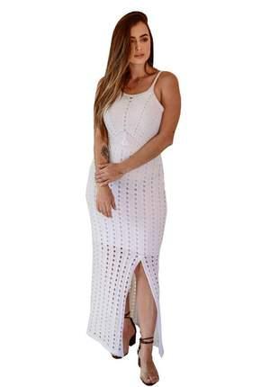Vestido longo branco moda tricot