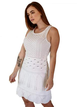Vestido curto branco para casamento civil tricot trico barato