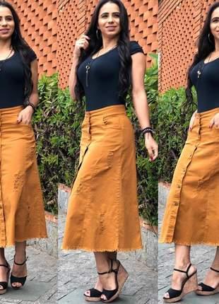 Saia feminina longa jeans coloridas com botões
