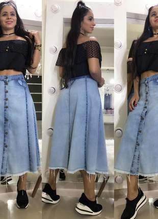 Saia em jeans feminina longa com botões 2020
