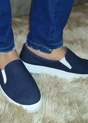 Slip on tênis feminino confortável jeans azul numeração especial 40 ao 43