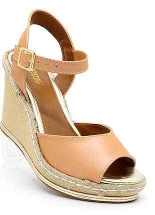 Sandália feminina plataforma crômic marrom
