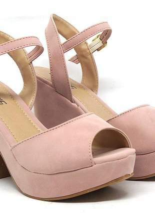 Sandália feminina plataforma crômic rosê