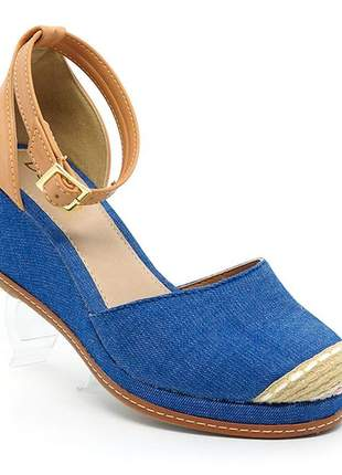 Sandália feminina plataforma doma shoes azul