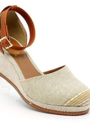 Sandália feminina plataforma doma shoes bege