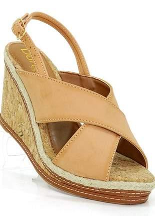 Sandália feminina plataforma doma shoes bege e cortiça