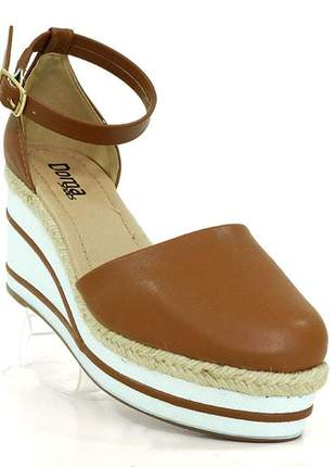 Sandália feminina plataforma doma shoes caramelo