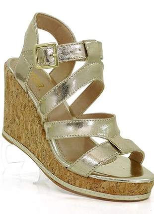 Sandália feminina plataforma doma shoes dourado e cortiça
