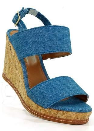 Sandália feminina plataforma doma shoes jeans e cortiça