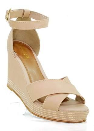 Sandália feminina plataforma doma shoes nude