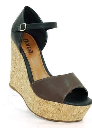 Sandália feminina plataforma doma shoes preto e marrom