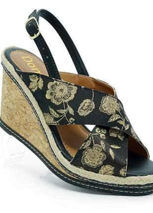 Sandália feminina plataforma doma shoes preto floral e cortiça