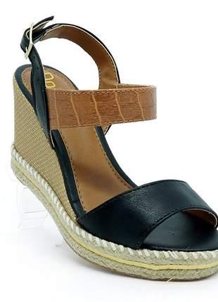 Sandália feminina plataforma espadrille doma shoes preto e marrom