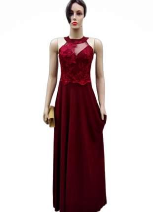 Vestido de festa marsala luxo madrinha casamento formatura longo bordado 15 anos
