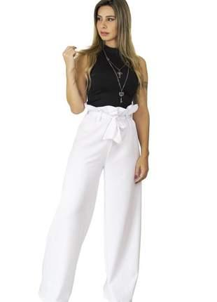 Calça dress code moda pantalona branca