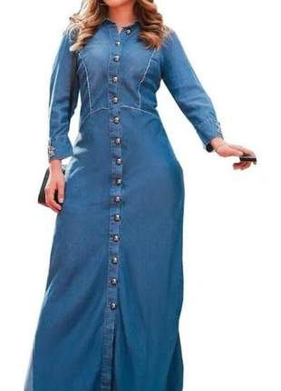 Vestido jeans longo joyaly moda evangélica