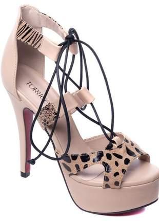 Sandálias femininas meia pata animal  print