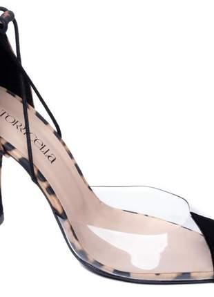 Sapato scarpin   nobuck preto vinil e tecido onça
